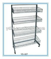 Supermarket Wire Mesh Hanging Basket Shelf on Wheels