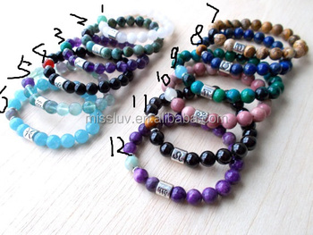 Zodiac Sign Natural Stone Bracelets Black Onyx Cancer Healing Best Birthday Gifts