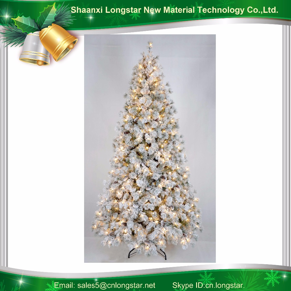 2017 aspen floccked Christmas tree giant tree with LED light