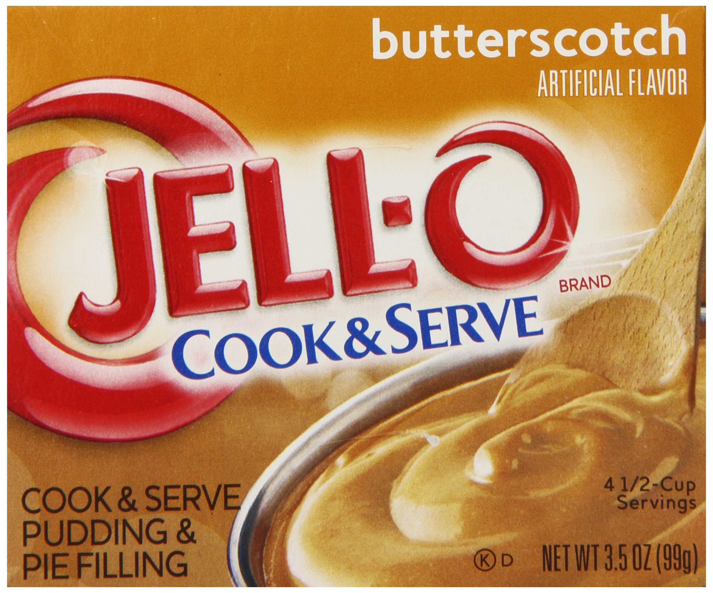 Jell-O Cook and Serve Pudding and Pie Filling, Butterscotch, 3.5-Ounce Boxes (Pack of 6)
