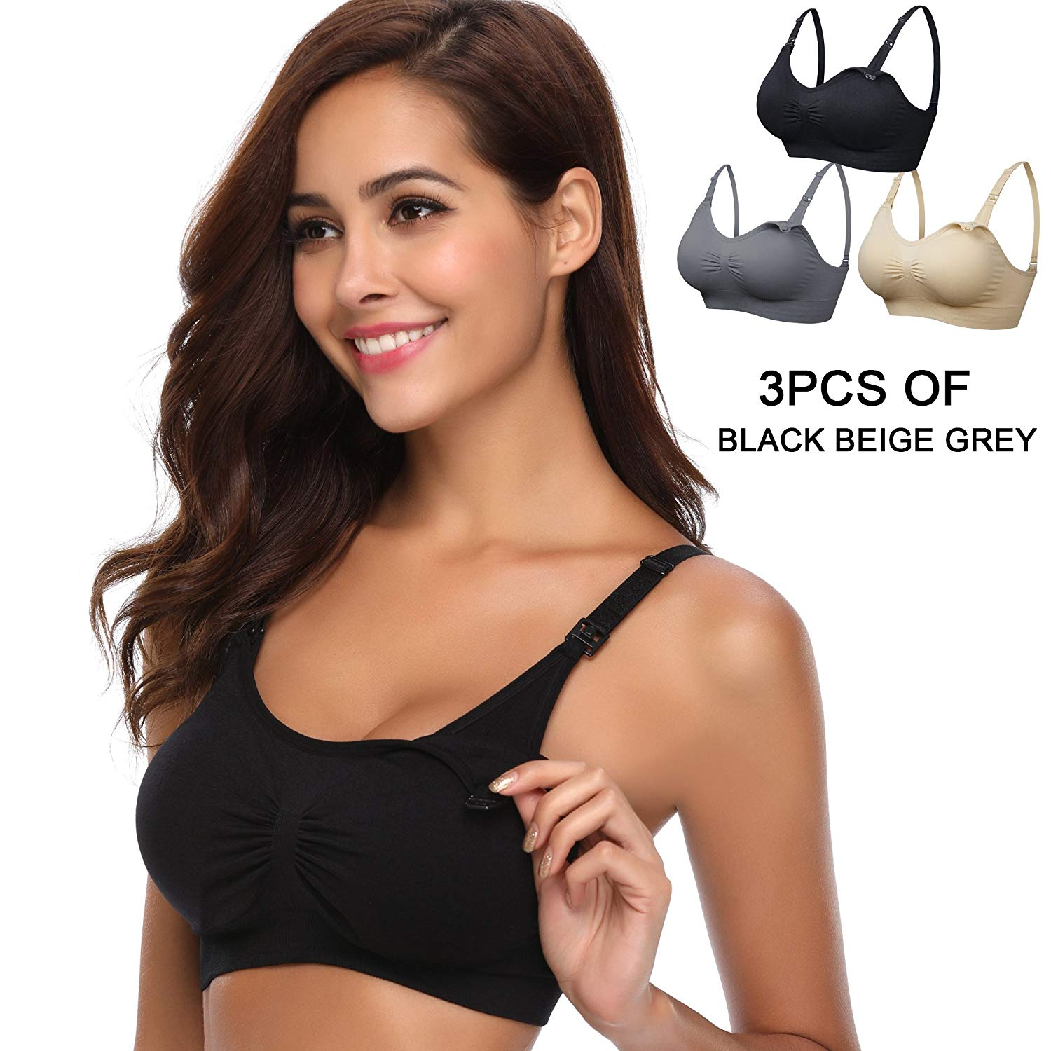 9d342dc936 Get Quotations · BAOMOSI 3PACK Hands-Free Pumping Maternity Nursing Bra  Wireless Women s Sleeping Breastfeeding Bra