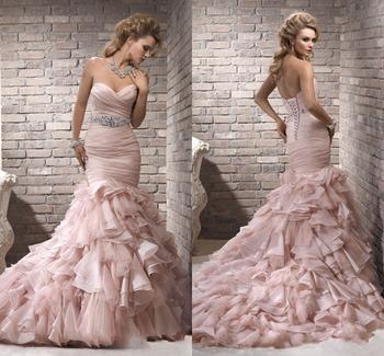 604da7e483 ZH1514G Blush Pink Ruffles Mermaid Wedding Dresses Sexy Sweetheart Lace-up  Back Bridal Gown