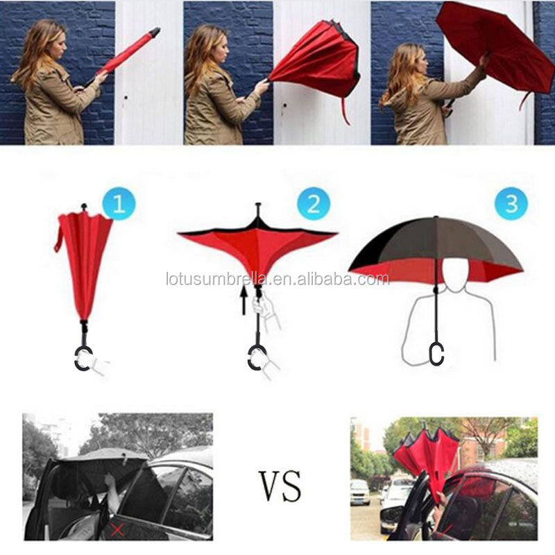 High Quality 190T Pongee Upside Down Solid Color Flower Design Reverse Umbrella With Custom Logo
