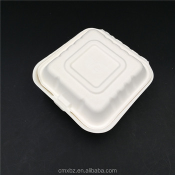 Square small bagasse biodegradable food packaging containers