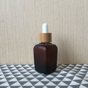30ml square glass dropper bottle for 30ml amber frosted glass cosmetic bottle GR154R