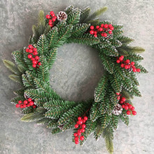 Frosted christmas wreath 50cm with berry pinecone pre decorated