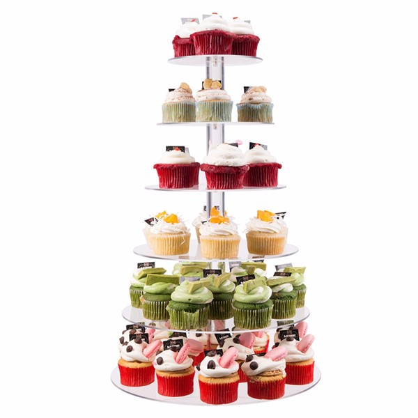 Flat Pack Cake Stand Tower,Clear Acrylic Round Tiered Cupcake Stand,Rotating 3 Tier Wedding Cake Stand Cupcake Stand Wholesale