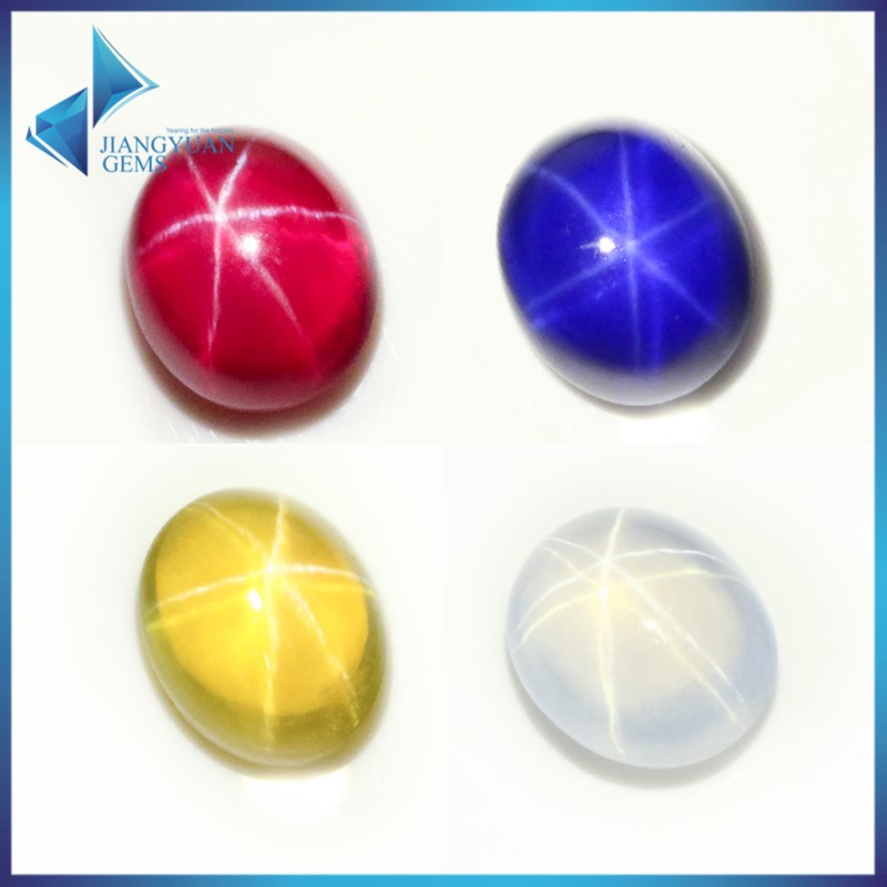 Synthetic cabochon flat back star ruby star sapphire stone