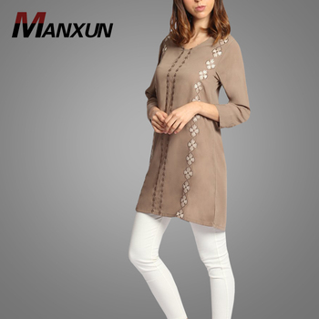 New Arrival Muslim Women Embroidered Comfortable Tunic Elegant Lady Tops Islamic Clothing