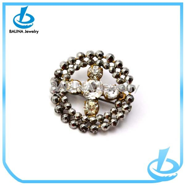 Hot sale rhinestone bead pave round wholesale cross brooch