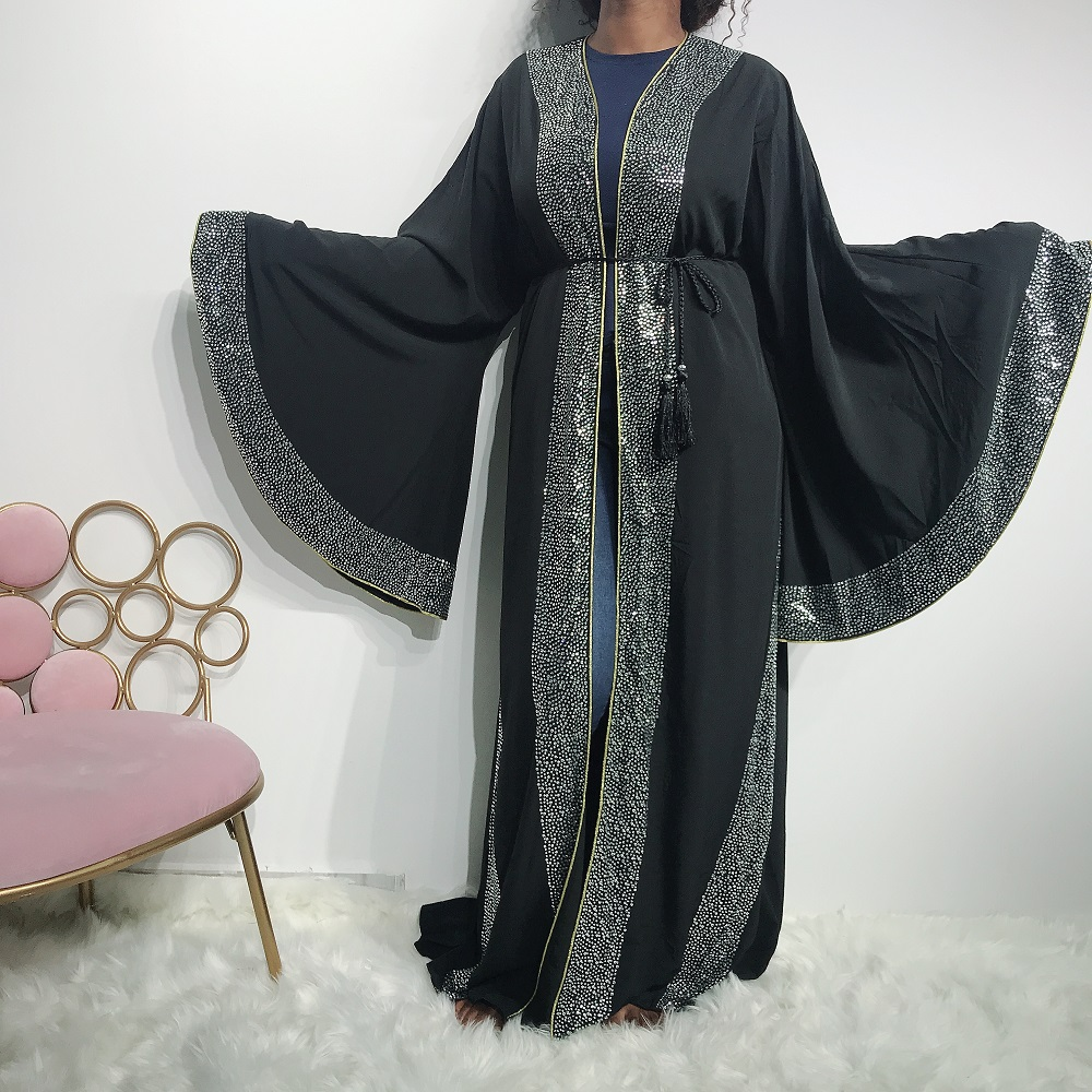 2019 Newest big sleeves middle east shinning stones dubai abaya high high quality In stock
