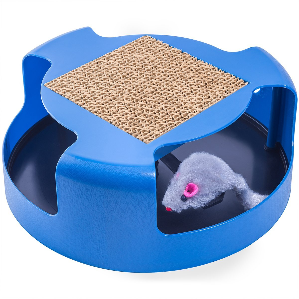 Cat Toy Interactive Training Exercise Cat Kitten Mouse Play Toys with Turbo Scratching Post Pad