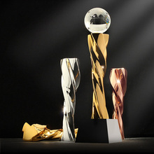 The cohesive prize metal cup globe crystal trophy award