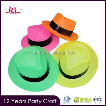 Plástico De Color Neón Gángster Sombreros Para Fiestas Fiesta - Buy ... 0940c3cb76f