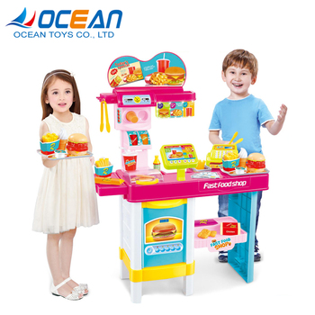 Kids Kitchen Pretend Game Top Quality Diy Big Plastic Fast Food Play