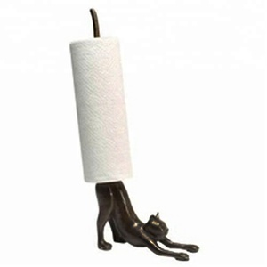 Cast iron stretching yoga cat bathroom and kitchen paper towel holders