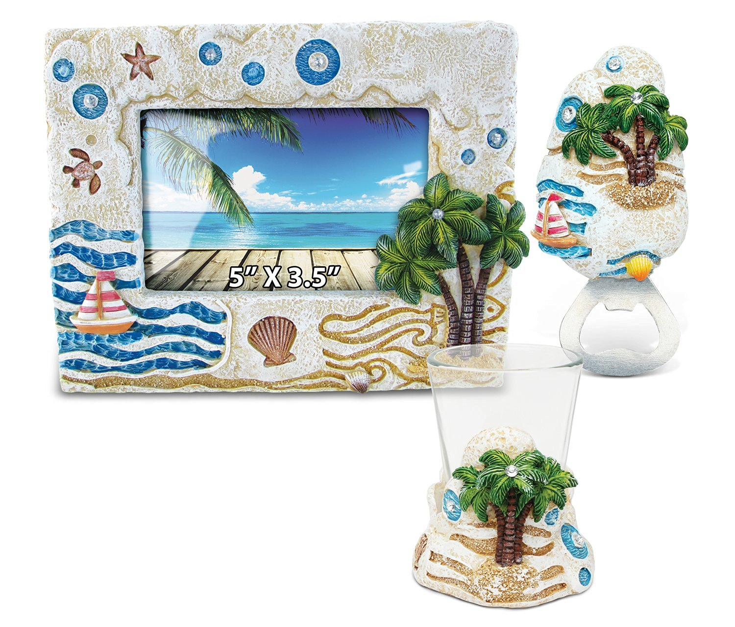 Puzzled Palm Tree Resin Stone Finish Collection including Picture/Photo Frame, Magnet Bottle Opener and Shot Glass - Picture Size 5 by 3 - Unique Elegant Gift and Souvenir
