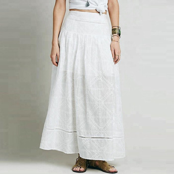 a0099f9c4b69c Embroidery Lace Floor Long White Cotton Indian Skirts Pure Mature Beach  long Skirt