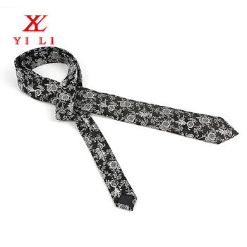 Fashion design good price woven black white flower mens silk ties