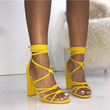women shoes 2018 women shoes casual high heel sandals black and yellow