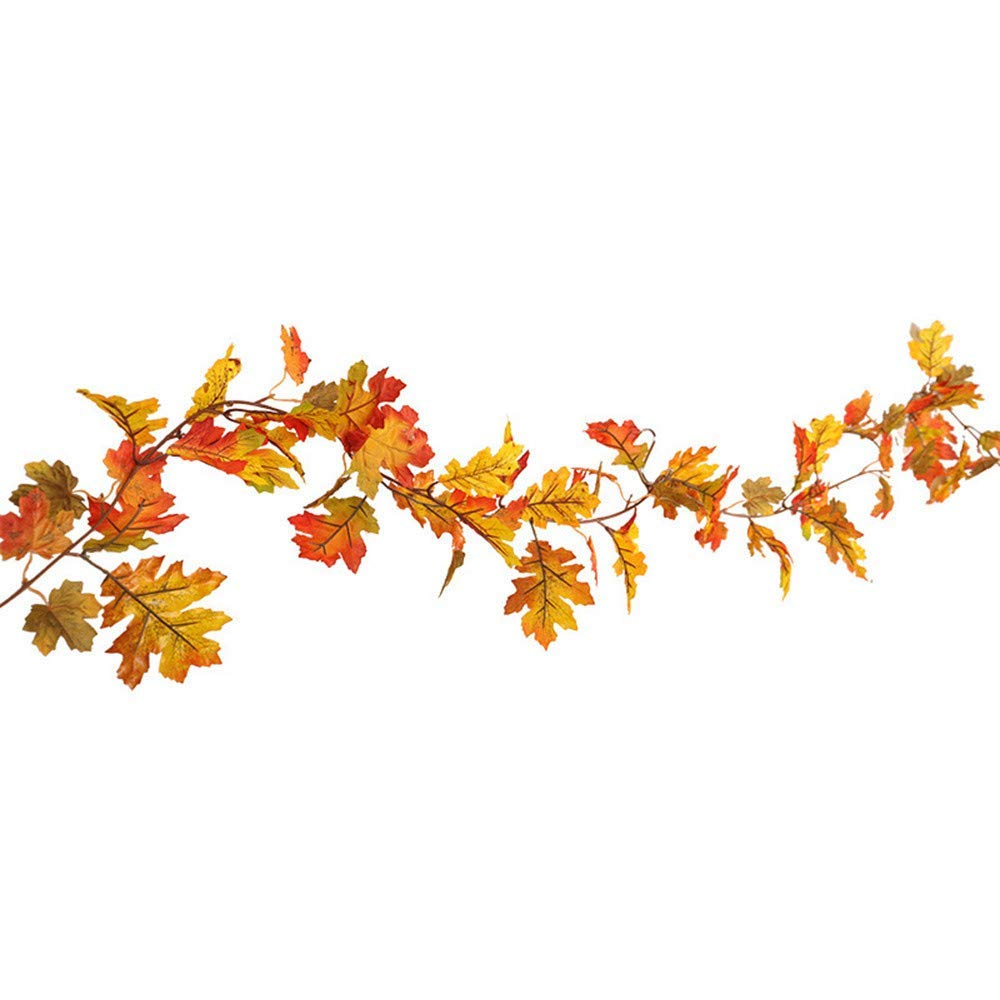 succeedtop Halloween 1.5M / 1.7M LED Lighted Fall Autumn Pumpkin Maple Leaves Garland Thanksgiving Decor String Light Wedding Party Home Garden Bedroom Outdoor Indoor Wall Decorations (B:1.5M)