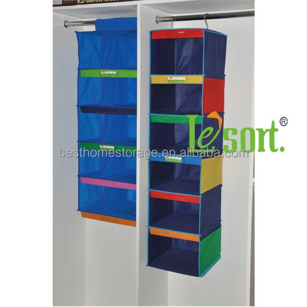 week printed hanging closet organizer for kids clothes