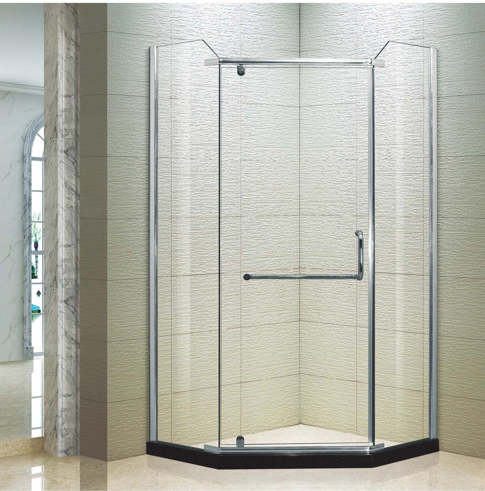 (KK3027 económica forma de diamante con bisagras barato de ducha de esquina de vidrio sin marco de cabina de ducha
