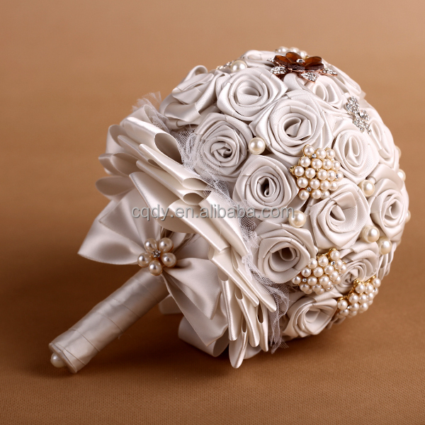 wedding bouquet holders for silk flowers 2014 luxury ruby artificial flower bouquet satin 8462
