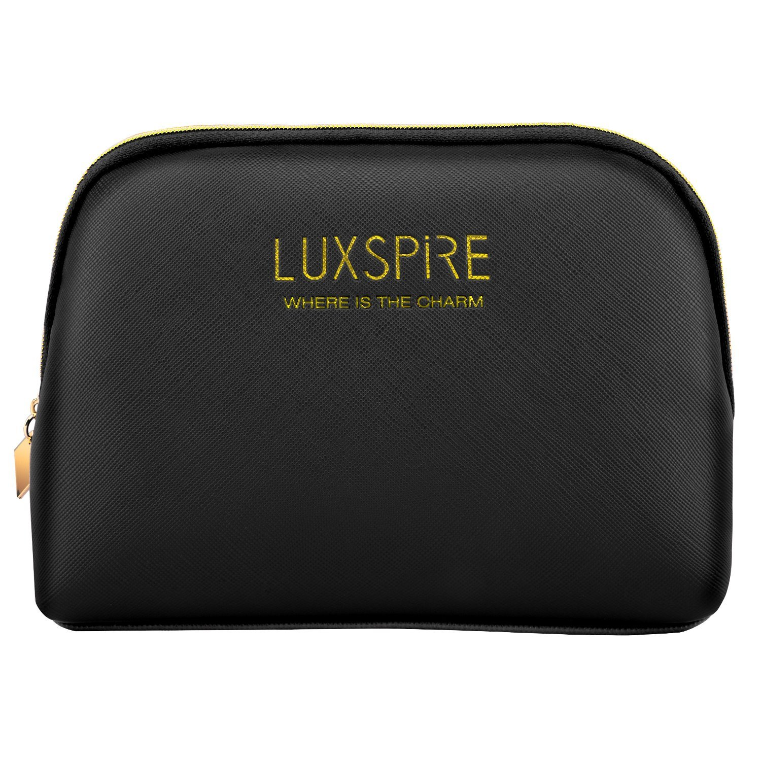 Luxspire Makeup Cosmetic Storage Case, Portable Waterproof Shell Make up Train Case Cosmetic Pouch Travel Storage Bag Toiletry Organizer Tool, Black
