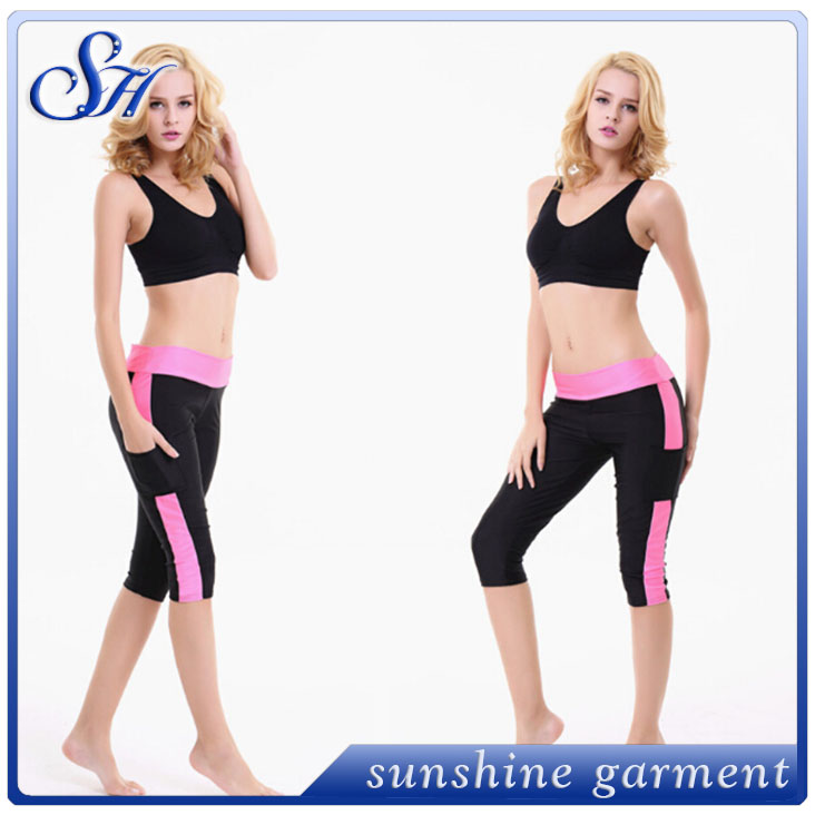 2017 Women Yoga Pants Sport Fitness Tights Slim Leggings Running Sportswear Tights Quick Drying Sport Pocket Trousers for Woman