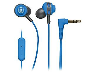 Audio-Technica SonicSport In-ear Headphones with In-line Mic & Control - Stereo - Blue - Mini-phone - Wired