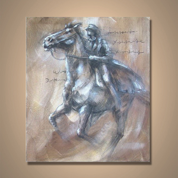 Handmade Wholesale Horse And People Home Goods Oil Painting Of Horses