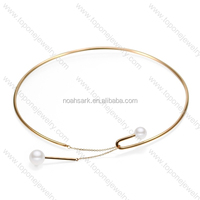 So beautiful new design fashion gold necklace with two white pearls