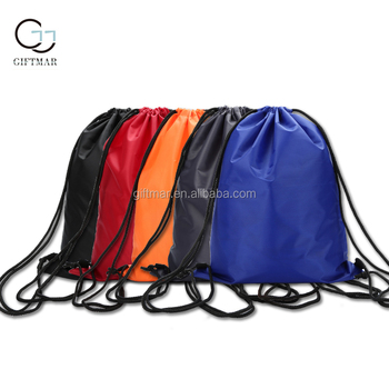 giftmar promotional use cheap drawstring bag waterproof string backpack unisex short travel storage bag easy carry