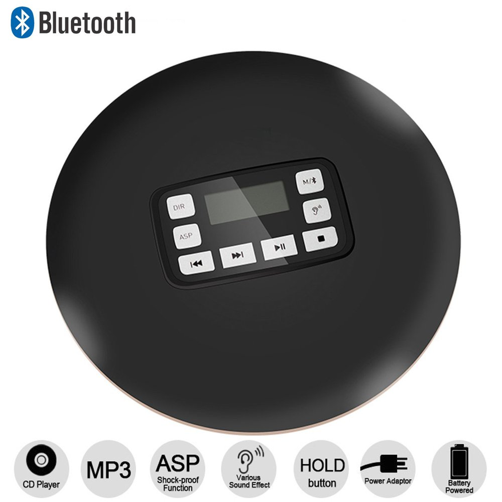 HONGYU Portable Bluetooth CD Player with LED Display /Headphone Jack Anti-Skip Protection Anti-Shock Personal CD Music Disc Player for Kids Adults Students, Black
