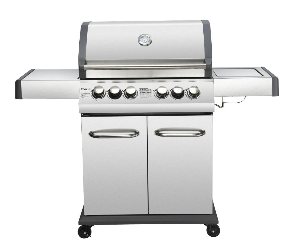 4 + 2 brenner gas grill euro grill set mit schwarz cast aluminium