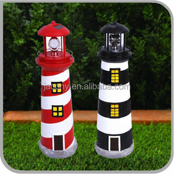 Solar Lighthouse Fountain With Rotating Lamp Outdoor Patio Light Garden Yard Decor Jl 1604