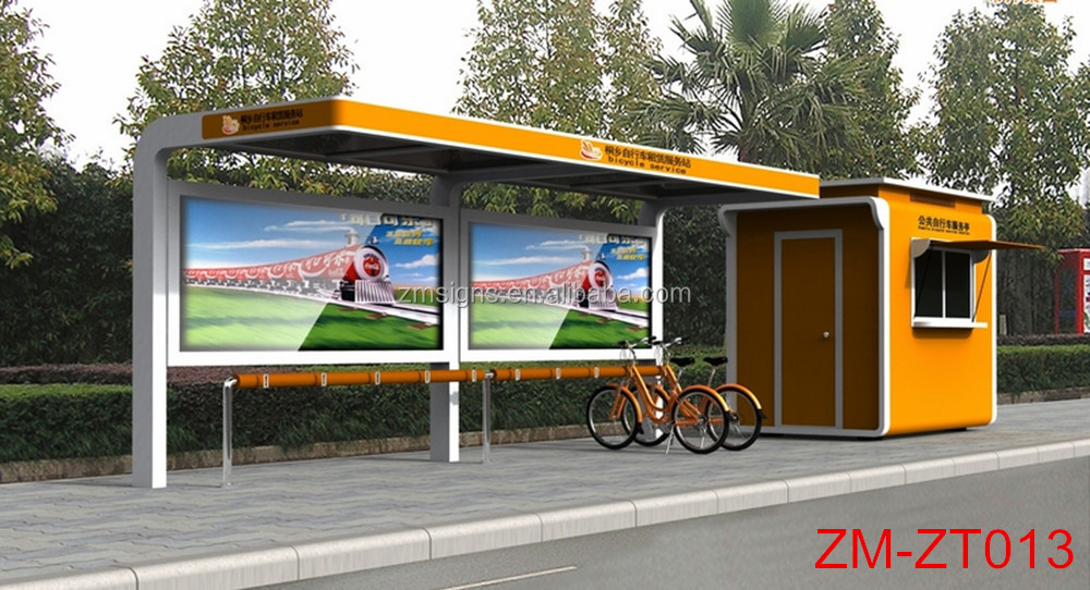 Modern metal bus stop bench shelter design
