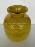 yellow bamboo vase