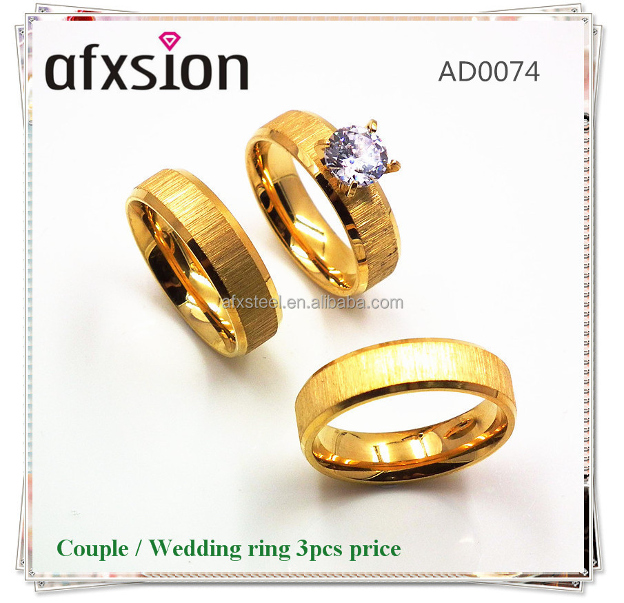 stainless steel jewelry,wedding ring set for couple ,heart matched couple wedding ring 3pcs price