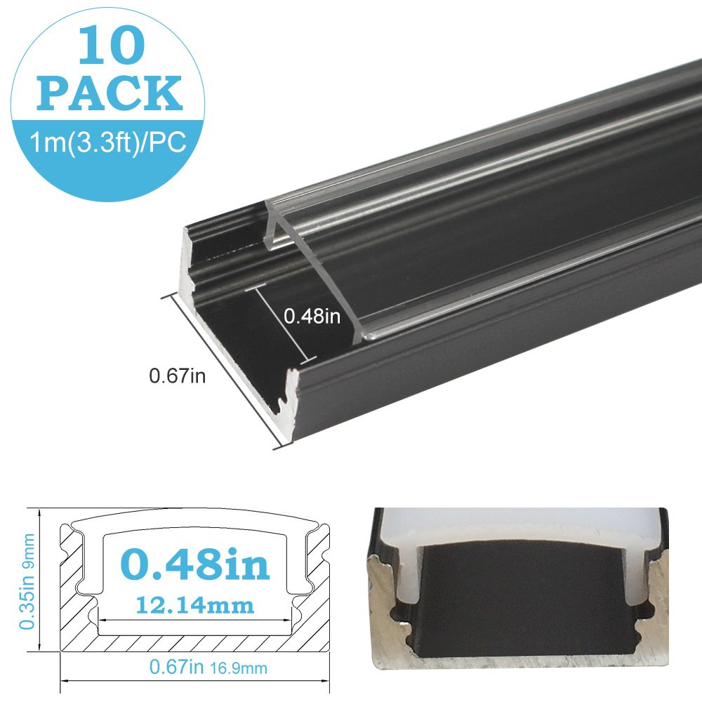 inShareplus U Shape LED Aluminum Channel System With Transparent Cover, End Caps and Mounting Clips, Aluminum Profile for LED Strip Light Installation, U02 Model, 10 Pack, 3.3ft/1 Meter, Black