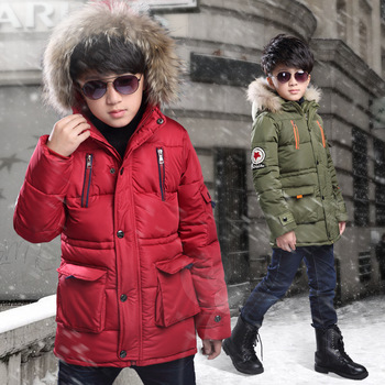 c28ae3b03 Heavy Fur Collar Long Cotton-padded Clothes Coat For Children ...