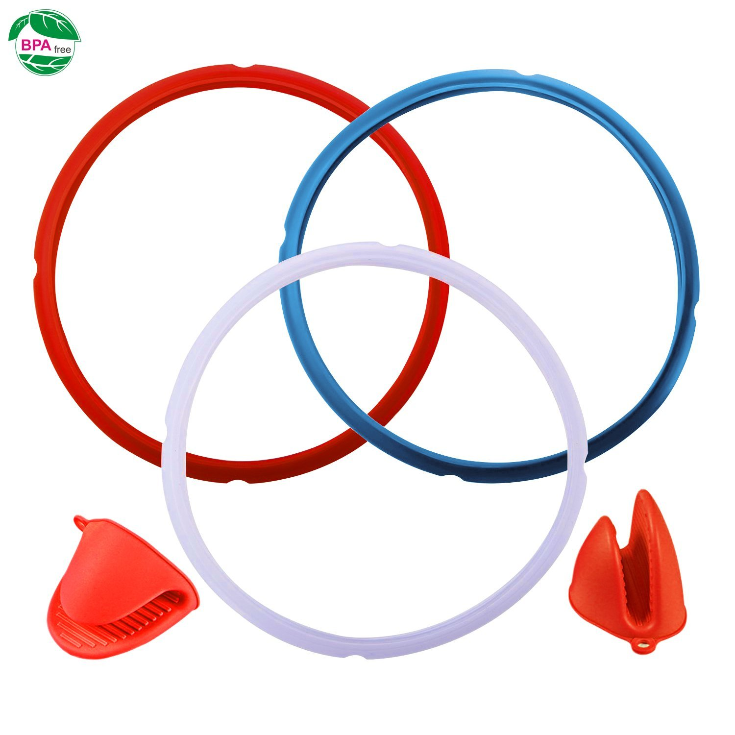 Silicone Sealing Ring for Instant Pot Accessories, Fits 5 or 6 qt Instant Pot Models Seal Lasting & BPA-free Pack of 3 with 1 pair of Silicone Oven Mitts Free (Blue,Red,Clear)