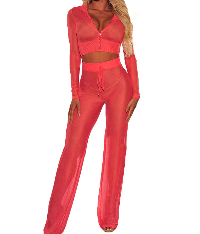 635995636e Get Quotations · RUEWEY Women See Through Sheer Mesh Bandage Two Piece Bikini  Cover up Hoodie Crop Tops and