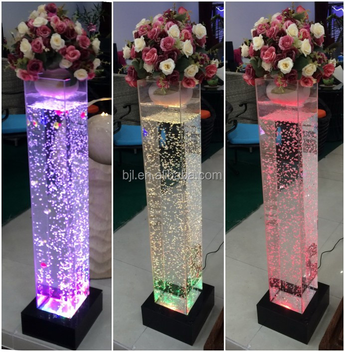 LED Acrylic Aquarium Mini Water Bubble Table Top Decoration