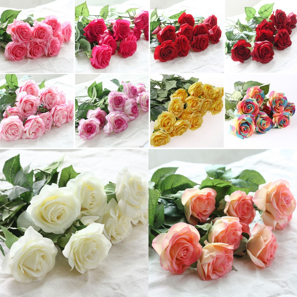 10 Head Decor Rose Artificial Flowers Silk Flowers Floral Latex Real ...