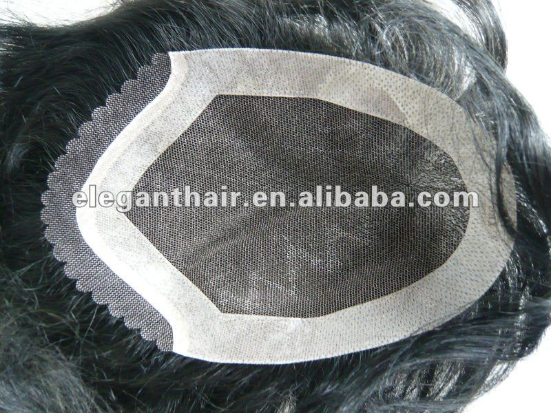 Indian human hair lace toupee with 3/4inch width clear PU and swiss lace front Toupee