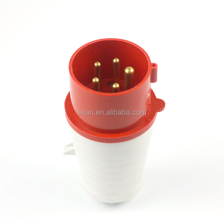 PA/PP material IP44 the tail with cable glands industrial plug g 014/024 16/32A 3P+E red with tail male female plumade in china