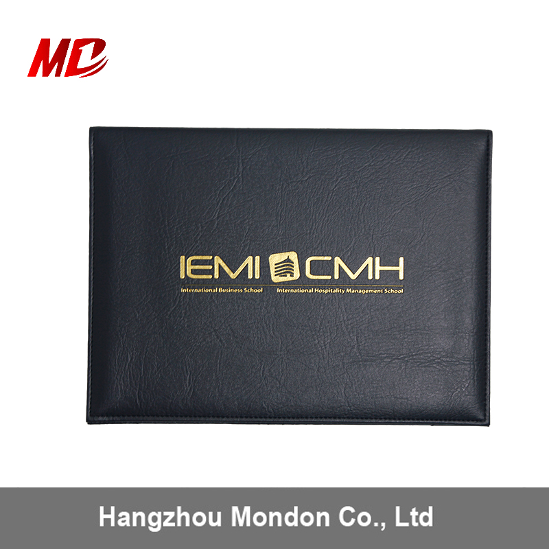 Wholesale A4 8.5*11Paded High Quality Leaherette Material Foil Stamping Logo Black PU Tent Style Diploma Covers
