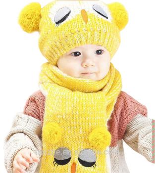 2017 Fashion Musim Dingin Bayi Laki-laki Perempuan Topi Hangat Syal Set  Lucu Rajutan Cotton 5a50f89340